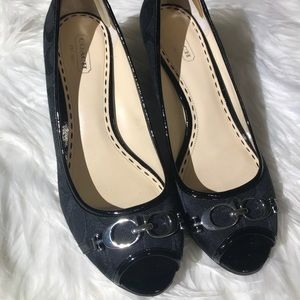 Coach Peep Toe Black Wedges Size 7